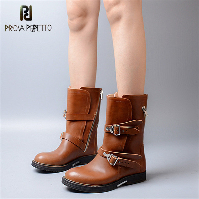 Prova Perfetto Trend Fashion Brand Women Chelsea Boots Smooth High Quality Cowhide Leather Naked Boots Waterproof Buckle Daily