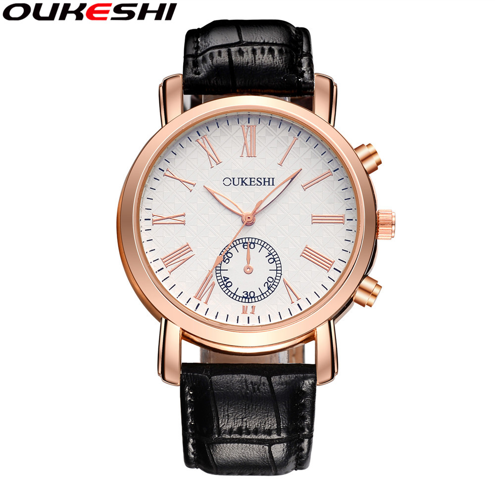 все цены на OUKESHI Men Business Watch Fashion Roman Numerals Casual Quartz Watch Men Golden Waterproof Watch Relogio Masculino онлайн