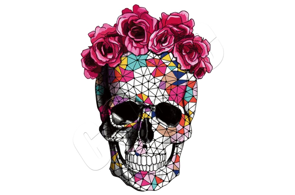 Skull Flower Iron On Patches For Clothing Summer Fabric Badge Stickers Clothes Jeans Washable Decoration Heat Transfer Parches