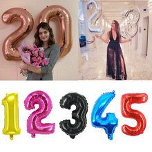 1pc 40inch Black Rose Gold Number Foil Balloons Babyshower and Sliver Globos Birthday Party Decoration Kids Wedding Decor