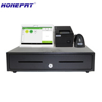 POS systems for store sells with cash drawer and 10inch android PC and 2inchThermal Printer and 1D Bluetooth Barcode scanner