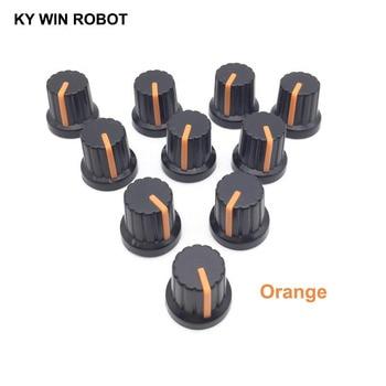 цена на New 10 Pcs Orange 6mm Shaft Hole Dia Plastic Threaded Knurled Potentiometer Knobs Caps