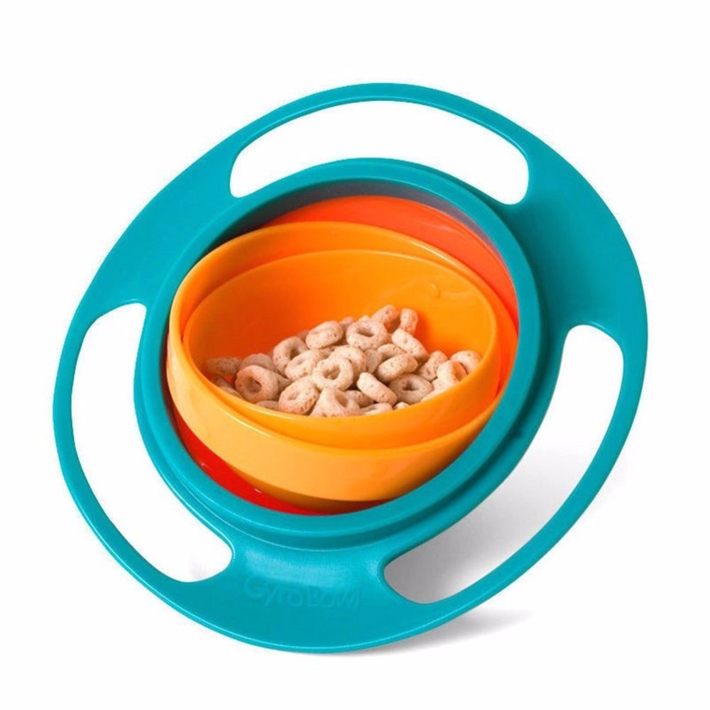 Child Kids Bowl Creative UFO Baby 360 Rotate Non Spill Food Dish Handheld Plate