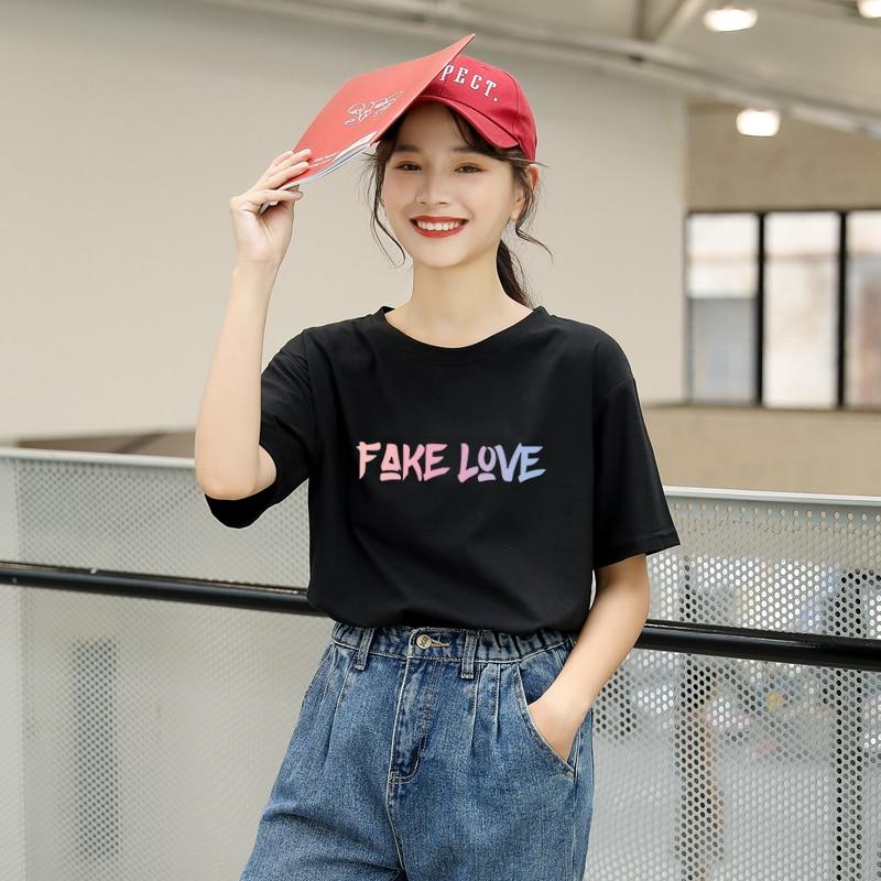 Harajuku Summer T Shirt Women Korean Fashion Kpop FAKE LOVE Letter Print Tshirt Streetwear Casual Female Tumblr Ulzzang Tops Tee