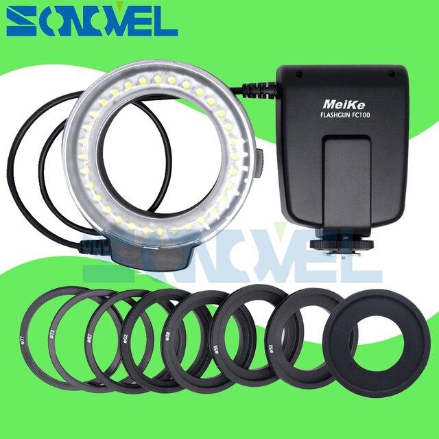 Meike FC 100 FC100 LED Flash Danneau Macro Lumière pour Nikon D4s D5 D3x D500 D600 D800 D810 D750 D3200 D3400 D5600 D5300 D7500 D7200