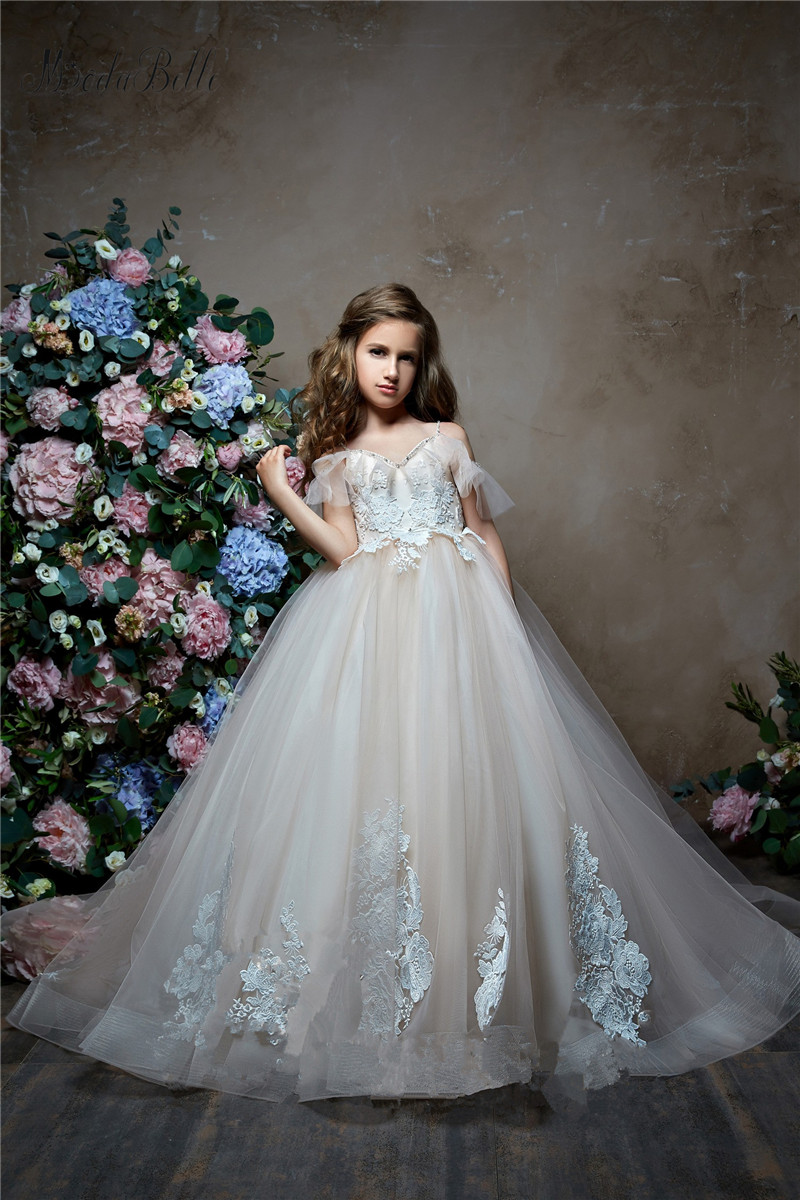 Modabelle Wholesale Cute Little   Girl     Dresses   Pageant   Dresses   Floor Length Applique Crystal Sleeveless   Flower     Girl     Dresses