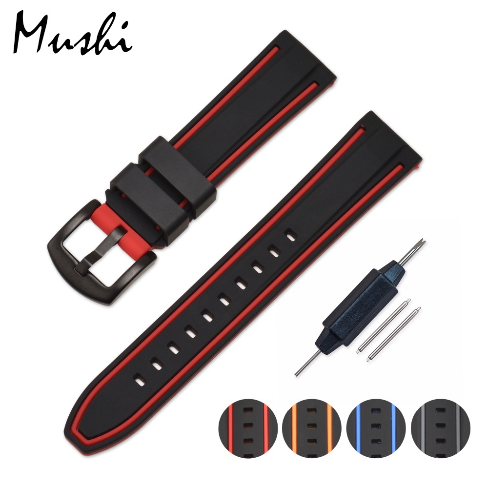 Colorful Silicone Watch Strap Rubber Wrist Watch Bracelet with Stainless Steel Buckle Clasp 20mm 22mm 24mm Watch Strap w/ tool