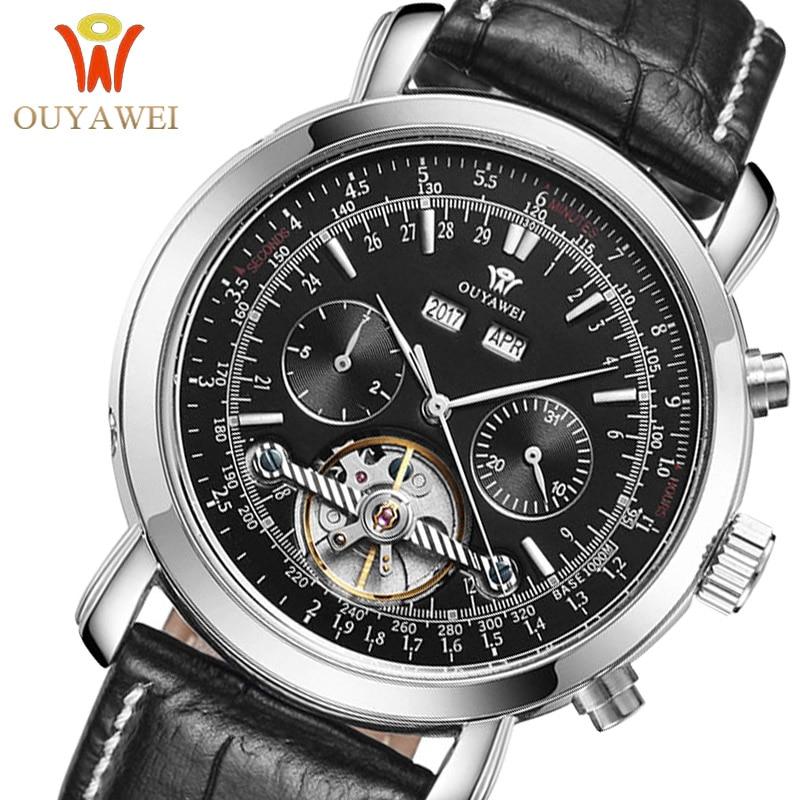 цена OUYAWEI Mechanical Watch Men Automatic Tourbillon Business Casual Leather Calendar Moon Phase Horloges Mannen Sports Watches New онлайн в 2017 году