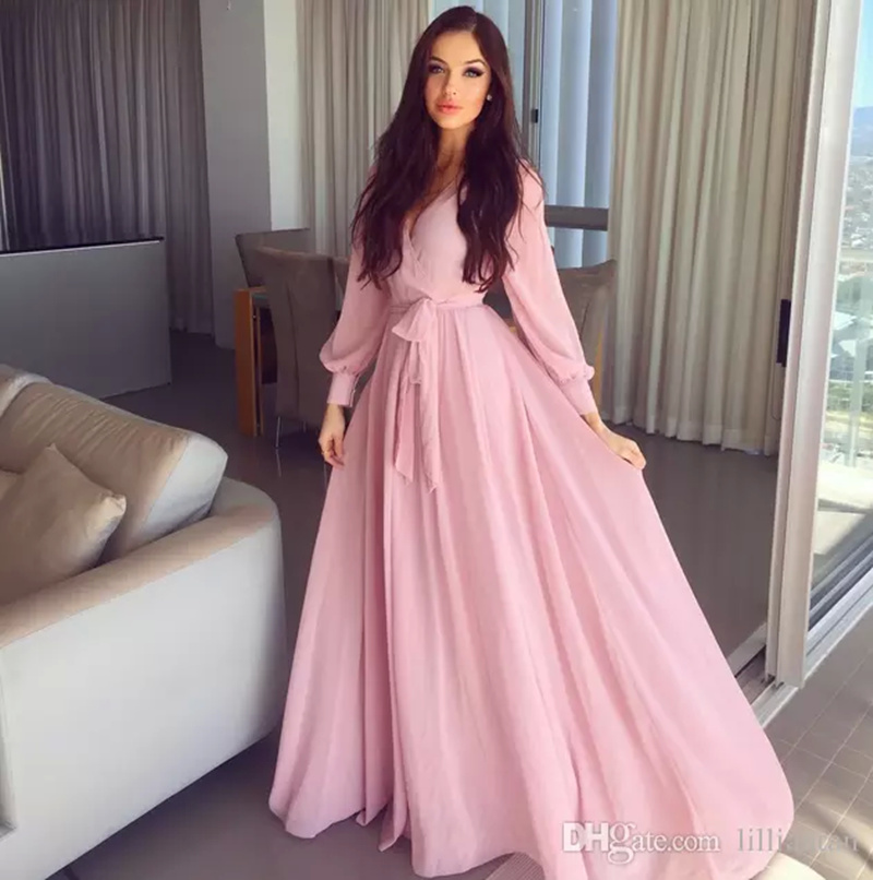 Simple A Line Pink Prom Dresses evening dresses Long Sleeve Poet ...