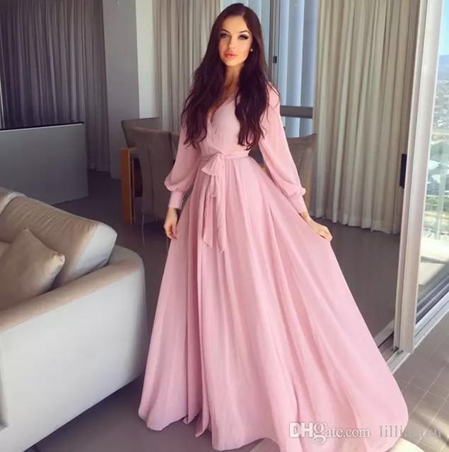 Simple un line pink prom vestidos de noche vestidos de manga larga ...