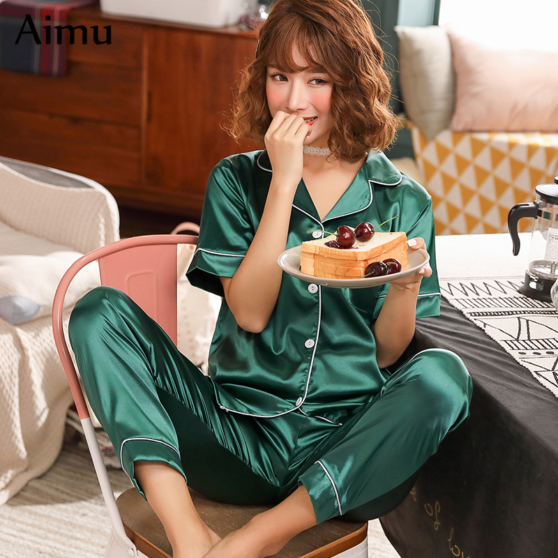Plus Size 3XL 4XL 5XL Short Sleeve Silk   Pajamas   Women Summer   Pajama     Sets   Silk Pijama Sleepwear Pyjamas Comfortable Nightwear   Set