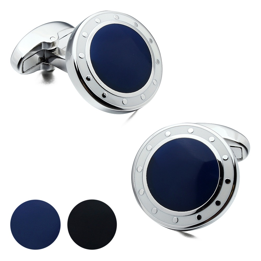 Brand HAWSON Luxury Mens Cufflinks Blue&Black Cuff Links Designer French Shirt Cuff For Sale Navy