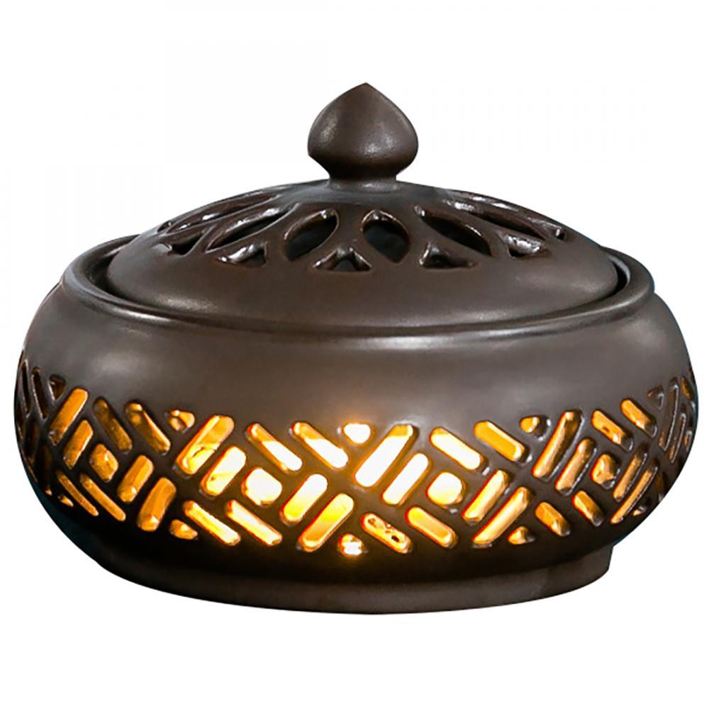 Aromatherapy Burner Led Lamp Ceramic Incense Burner Aroma Holder Crafts Home Decorations Sandalwood Cones Burner Hollow Pattern