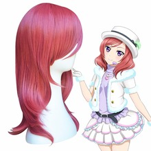 Japanese Anime LoveLive Cosplay Wig Maki Nishikino Long Wavy Pink Synthetic Hair