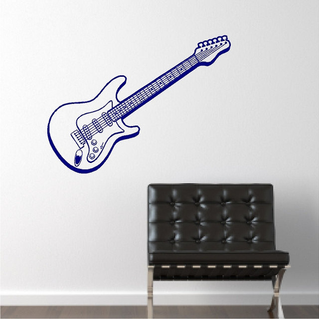 Music Art Design Wall Sticker Electric Guitar Beautiful Wall Decals Mural  Home Bedroom Art Special Decorative