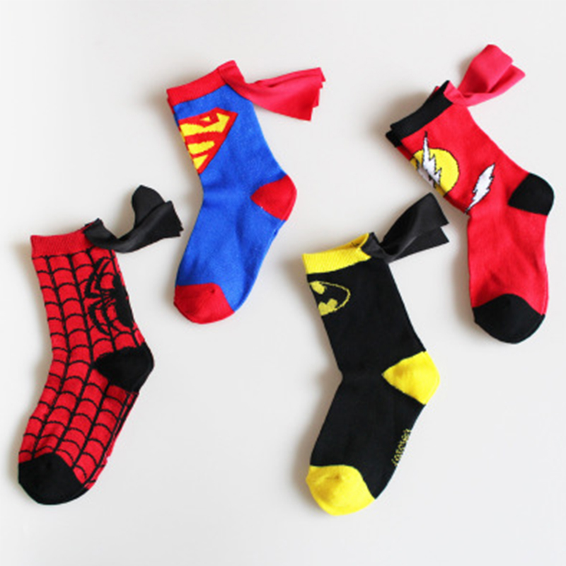 4-8years Old Girls Cotton Socks Super Hero Cloak Cartoon Sport Socks Kid Boys Sport Socks Spiderman Cosplay Cartoon Long Socks