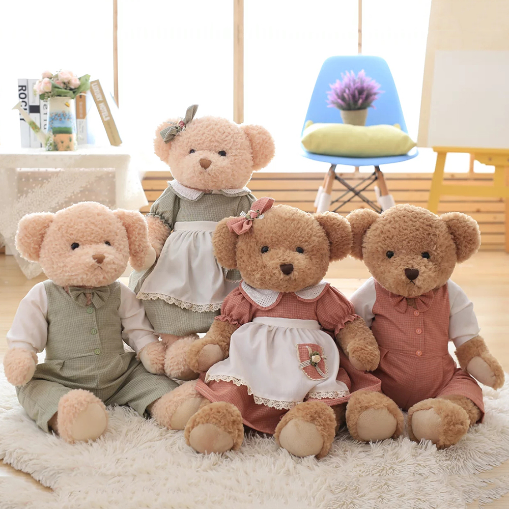 2017 Pastoral Country Dress Up Teddy Bear Doll, Couple Teddy Bear Plush Toy, Retro Pastoral Teddy Bear Doll, Free Shipping! newborn infant baby girls boys long sleeve clothing 3d ear romper cotton jumpsuit playsuit bunny outfits one piecer clothes kid