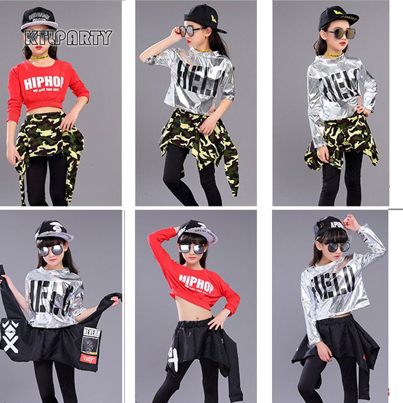 KTLPARTY children girl boy jazz hip hop costume modern ballroom dance wear short sleeve shirt top camouflage pantskirt culottes