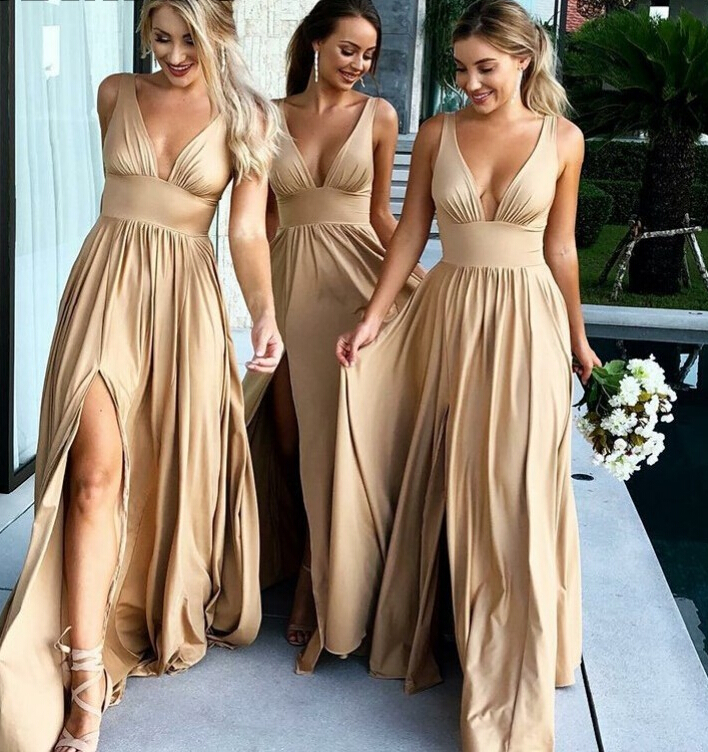 Sexy Side Split V Neck Champagne Gold Bridesmaid Dresses Long