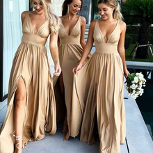 Sexy Side Split V-neck Champagne Gold Bridesmaid Dresses Lon