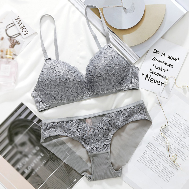 Sexy Lace   Bra     Sets   For Women Wireless Thin Cotton Breathable Comfortable Underwear Solid Lingerie   Set