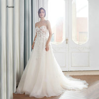 Newest Sexy Wedding Dresses 2018 Long Appliques Spaghetti Straps Tulle Bridal Dresses Open Back Wedding Gown robe de mariage