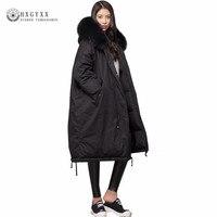 Мода 2018 зимняя куртка Для женщин большой меховой воротник с капюшоном толстые пуховые парки длинные женские куртки пальто теплая зимняя ве