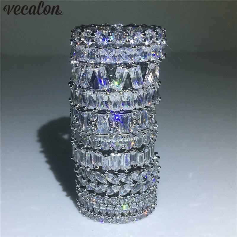 Vecalon 9 Stile Liebhaber Finger ring 925 Sterling Silber AAAAA zirkon cz Engagement hochzeit band ring Für frauen Schmuck