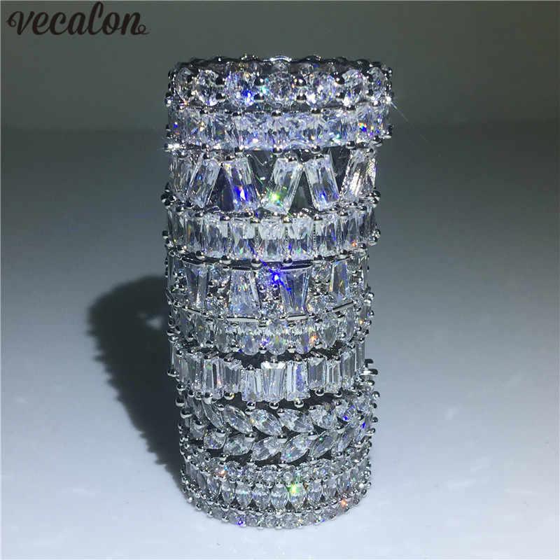 Vecalon 9 видов стилей кольцо для помолвки стерлингового серебра 925 фианит AAAAA обручальное кольцо для женщин ювелирные изделия