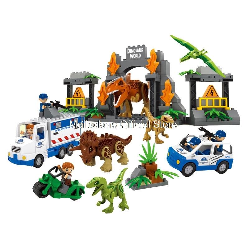 100% Waar Duplo Legoing Jurassic World Dinosaurus Dieren Bouwstenen Speelgoed Voor Kinderen Compatibel Legoings Duploe Figures Auto Professioneel Ontwerp