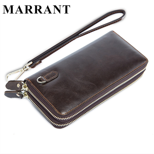 MARRANT genuine leather men's wallet fashion famous brand man money clip wallet double zipper purse leather men clutch bag 9015