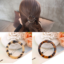 Korean Classic Leopard Circle/Triangle Geometry Hairpin Acrylic Hair Clip For Women Gift Jewelry Accessories