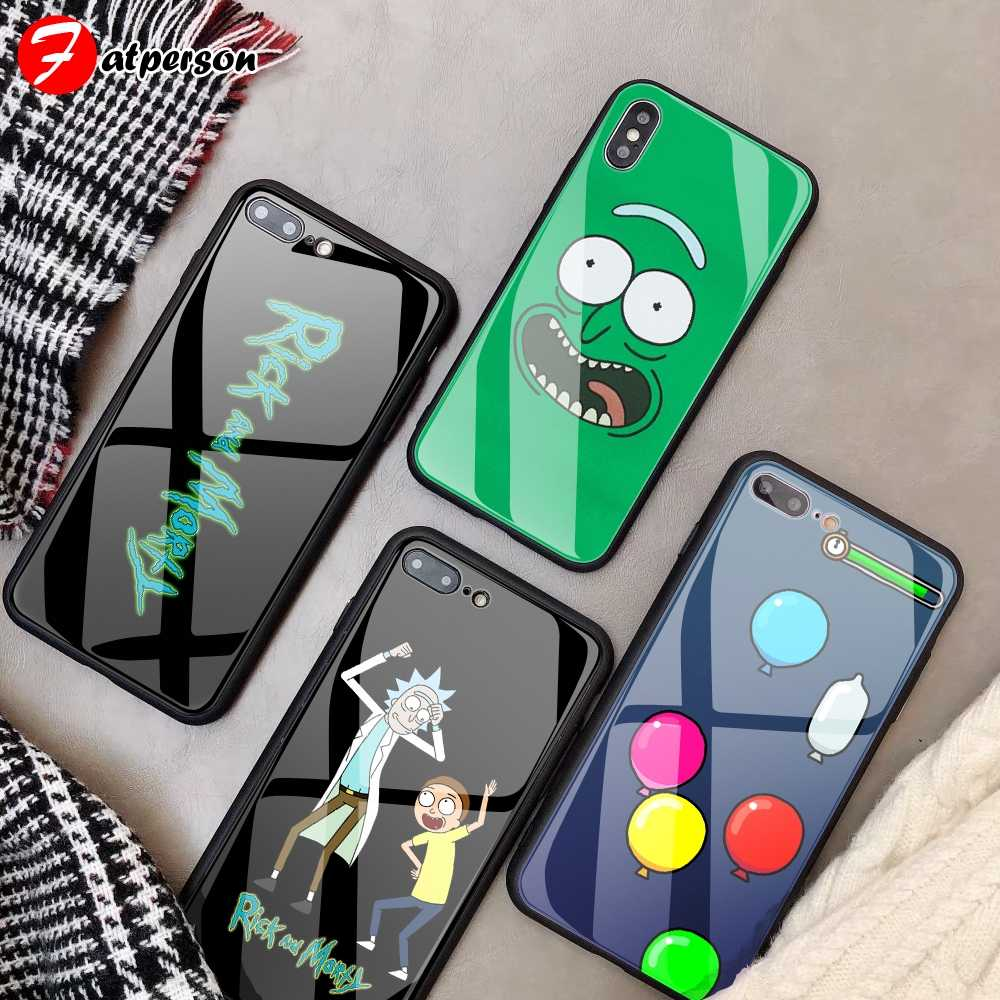 Kustom Anti Gores Phone Case untuk iPhone 11 Pro XS Max XR 5 5S SE Case Rick dan Morty acar DIY untuk iPhone 8X10 7 Plus 6 S