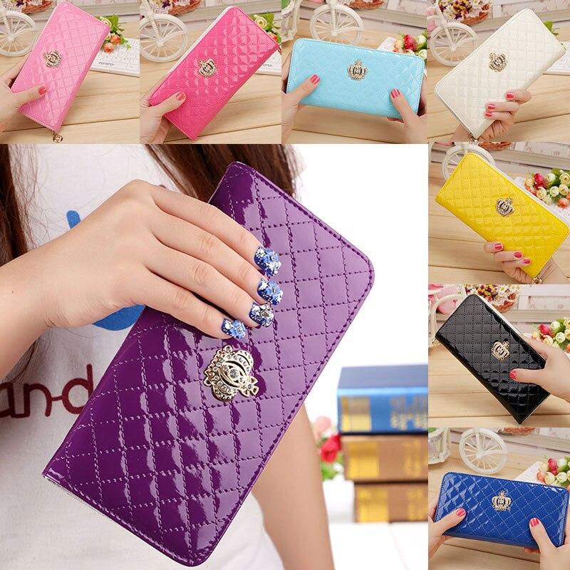 Women Long Wallet Crown Purse Bag With Coin Bags Plum Flower Clutch Wallets Phone Handbag BS88