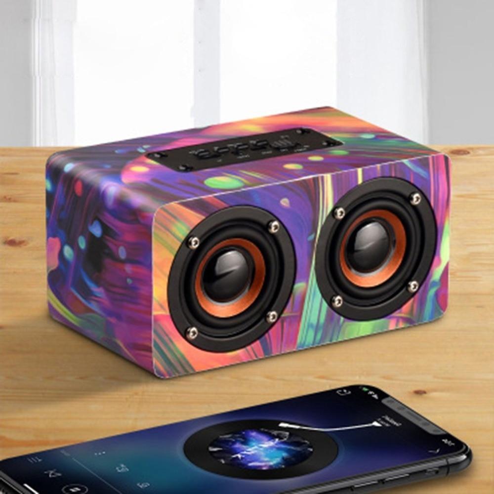 Wooden Wireless Bluetooth Speaker Portable HiFi Shock Bass soundbar Speaker Computer Audio caixa de som
