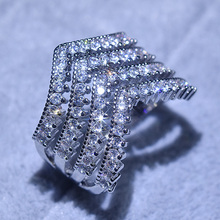 Fashion Bling Zircon Stone Rings for Women Wedding Engagement Silver Ring 2019 Female Jewelry