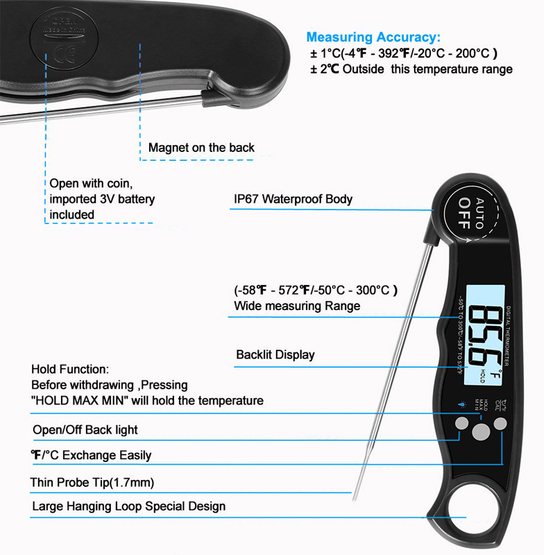 EAAGD Waterproof and Instant Read Food Thermometer with Calibration and Backlight Functions including Long Folding Probe 8
