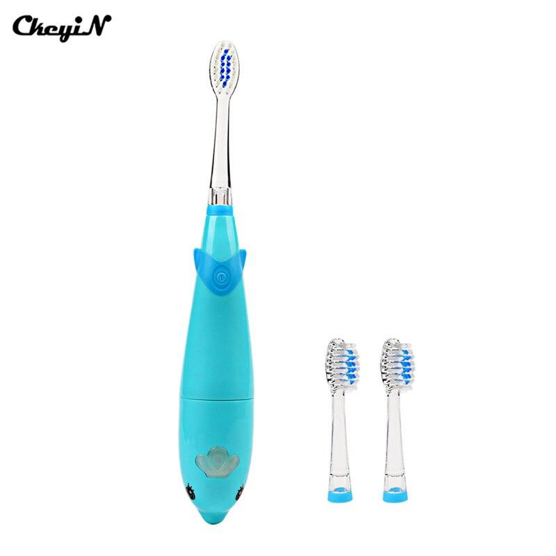 Ckeyin niños dibujos animados música delfín Cepillos de dientes eléctricos  LED Sonic masaje eléctrico dientes Cuidado Baby Kids cepillo de dientes  limpiador ... be2adb2558eb