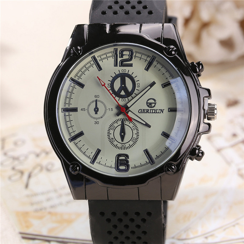 Fashion Outdoor Sports Digital Black Silicone Strap Men 's Quartz Watch Horloges Mannen Saat Erkekler Wristwatch Mens Megir 343 fashion men s horloges mannen roman auto day quartz stopwatch sport men s watch mens wirst watches gift box free ship