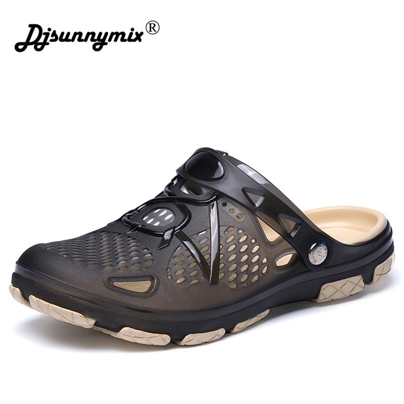 DJSUNNYMIX 2018 New Men Male Summer Beach Slippers Hole Hollow Out Ventilating Men shoes Breathable Beach Sandals big size 45 цена 2017