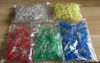 500Pcs/lot 5MM LED Diode Kit Mixed Color Red Green Yellow Blue White  5value*100pcs