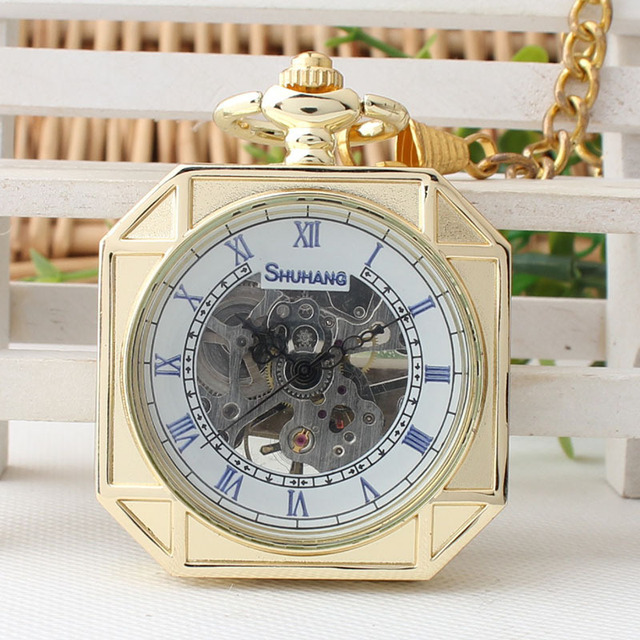 Gold alloy Antique Roman Numbers Octagon Mechanical Pocket Watch Hand Winding for women's gift TJX009