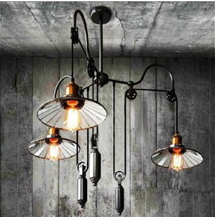 Personnalité rétro style américain salon style rustique simple trois tête ascenseur rétro industriel pendentif lumière verre miroir