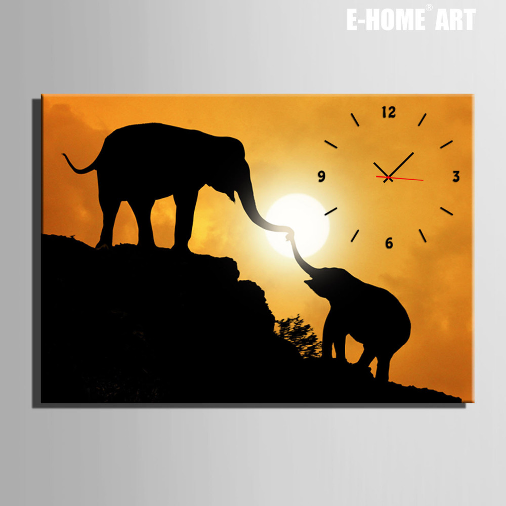 Free Shipping E Home Elephant Mother And Child Clock In Canvas