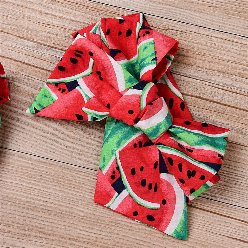 Newborn-Baby-Girls-Clothes-Watermelon-print-short-sleeve-round-neck-Bodysuit-Bowknot-Headband-2pc-cotton-casual-summer-set-2