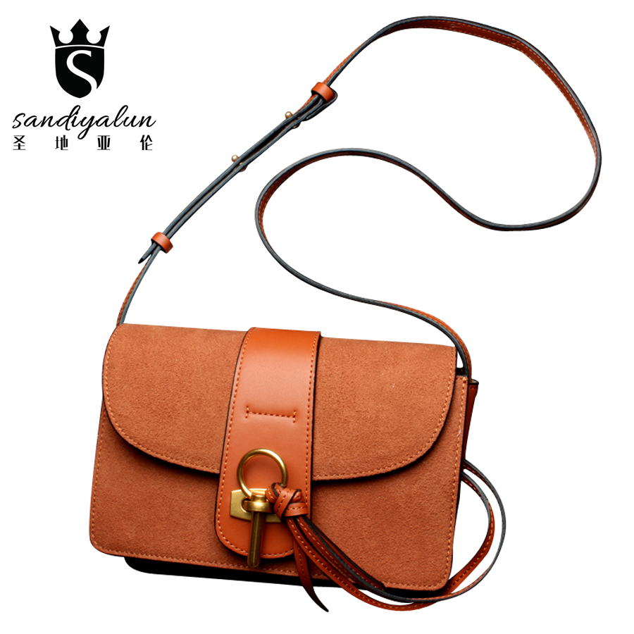 New Brand Designers Women Bags Genuine Leather Scrub Female Messenger Shoulder Bag Fashion Ladies Crossbody Handbags Bolsas qiaobao 100% genuine leather bags new 2017 fashion brand ladies crossbody shoulder bag women messenger bags l3001