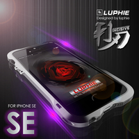 LUPHIE Metal Aluminum Frame PU Leather Back Sticker For IPhone 5s Case Shockproof Cover Shell For