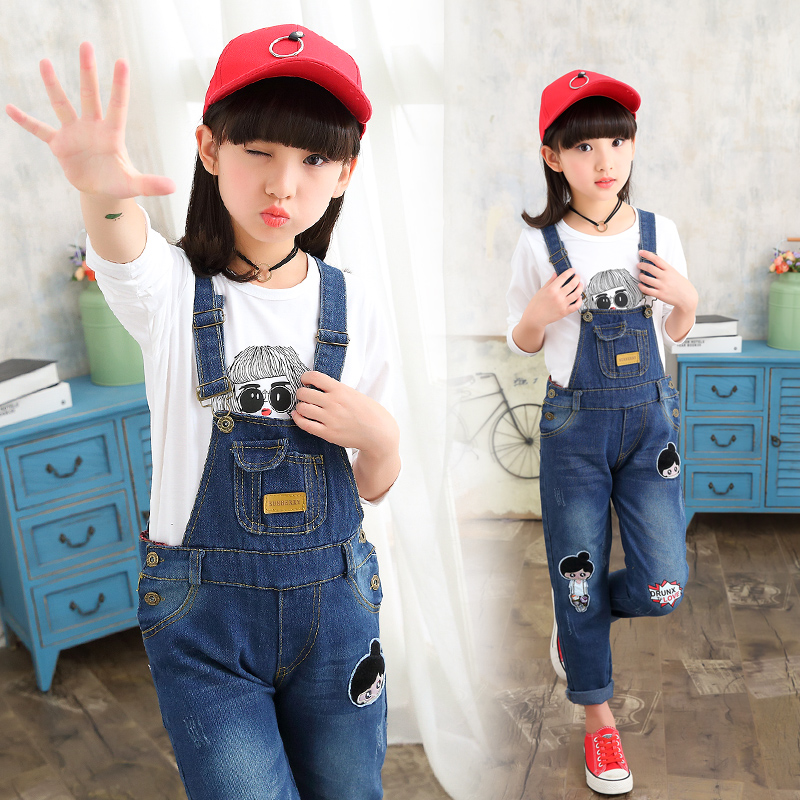 School Girls Denim Jumpsuits Letter Cartoon Kids Jeans For Girls Overalls Pants Spring Teenage Trousers 4 6 8 10 12 13 14 Years new arrival women blue denim overall multi pocket suspender trousers sweet jeans jumpsuits for girls