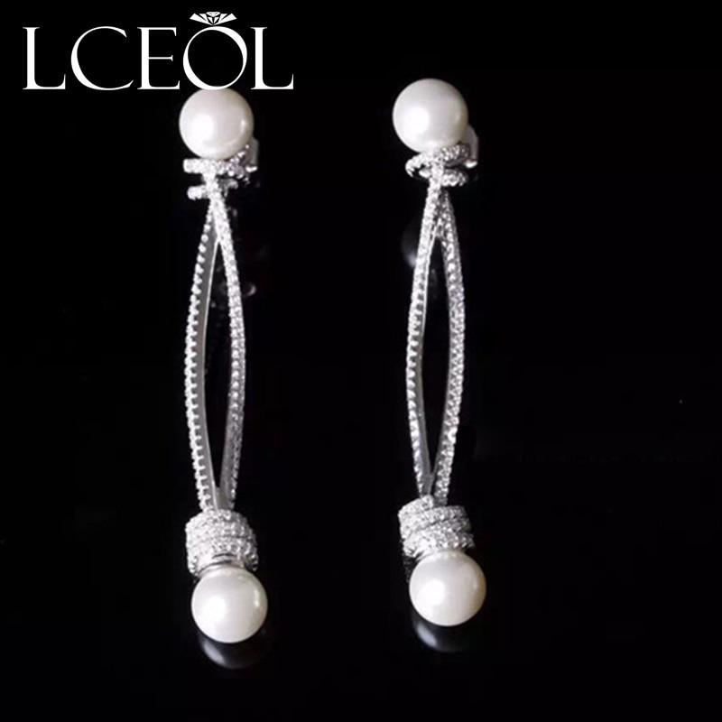 Lceol качество Модные украшения бренд класса люкс полный блеск Лепесток CZ кубического циркония серьги для Для женщин