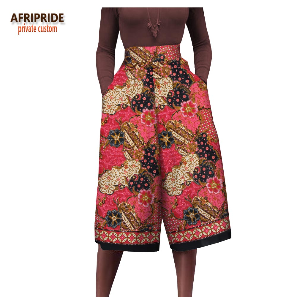 2018 AFRIPRIDE private custom african clothing woman fashion summer pants high waist wide legged pants pluz size Trouser A722102 in Africa Clothing from Novelty Special Use